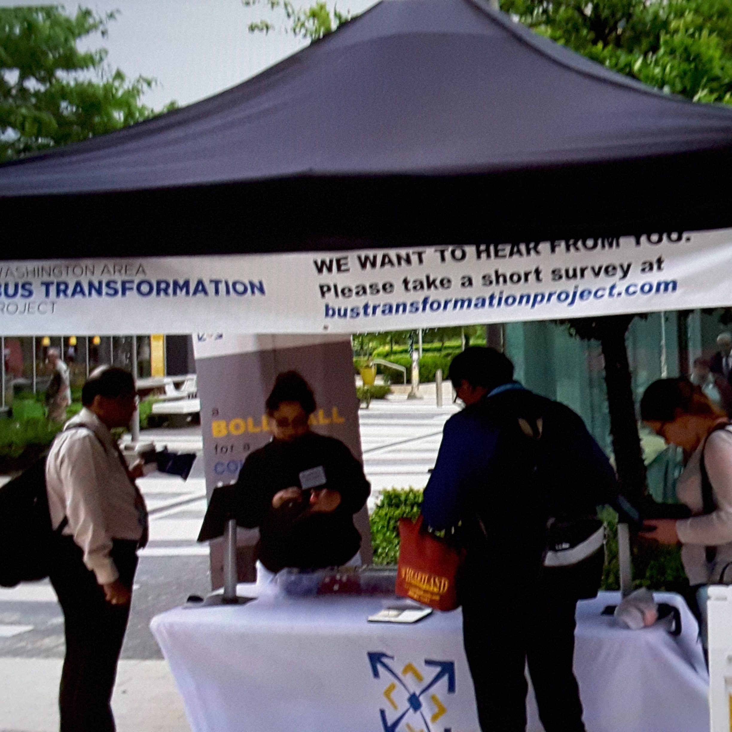 Event booth with people at the Wiehle-Reston East Station