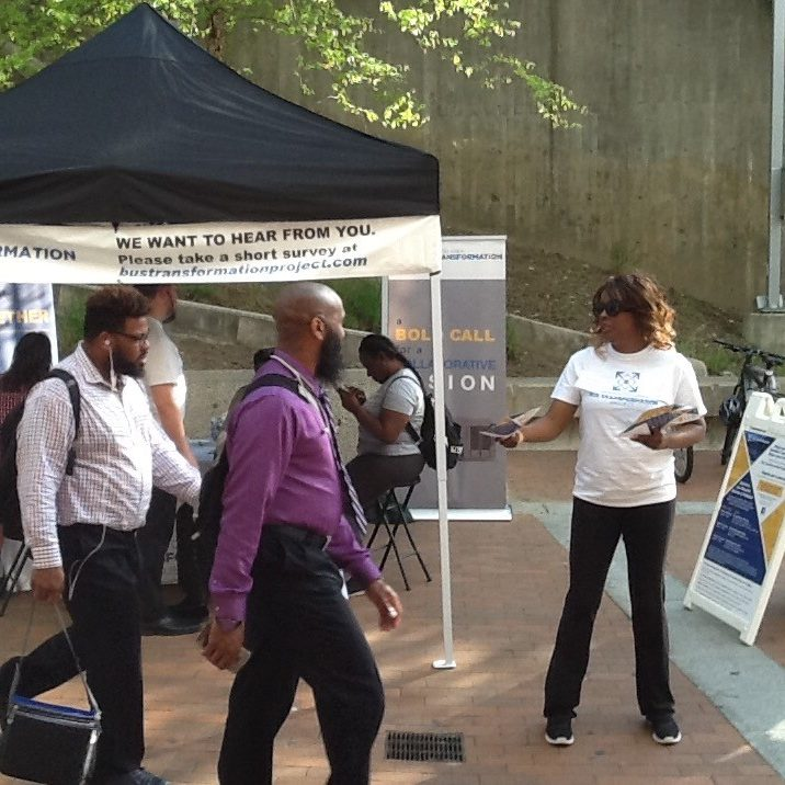 People gathered at the Silver Spring Paul S. Sarbanes Transit Center popup event booth